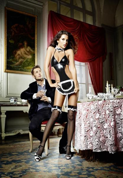 French Maid Costume Apron Teddy Collar Diva