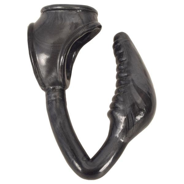 The Earl Cock And Ball Ring With Anal Plug Black