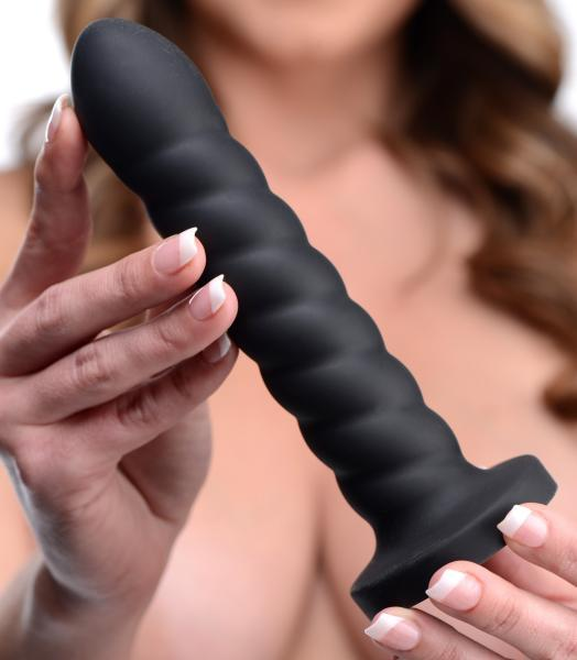 Supple Swirl 21X Remote Control Silicone Dildo Black