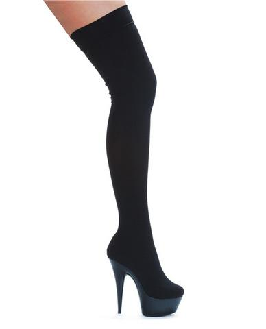 Ellie shoes ski 6in w/2in platform boot w/stretch lycra black seven - Dick and Jane Adult Emporium