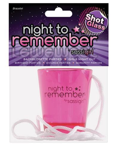Night to remember shot glass necklace by sassi girl - Dick and Jane Adult Emporium