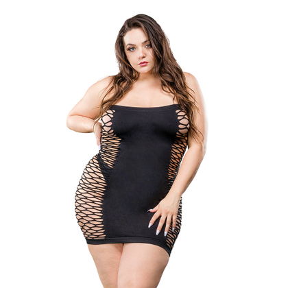 Naughty Girl Solid Mesh Tube Dress Black Q-S