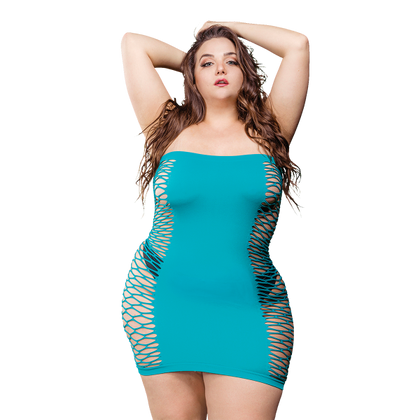 Naughty Girl Solid Mesh Tube Dress Blue Q-S