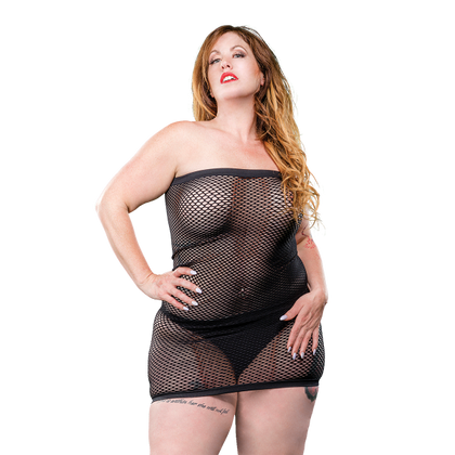 Naughty Girl Mesh Tube Dress Black Q-S