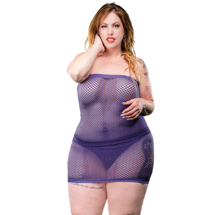 Naughty Girl Mesh Tube Dress Violet Q-S