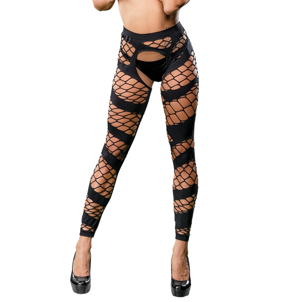 Naughty Girl Sexy Leggings Wild Mesh Design Black O-S