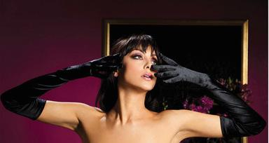 Satin Opera Length Gloves Black O/S