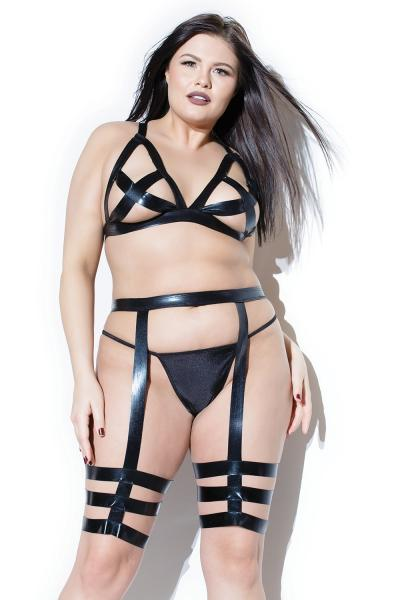 Wet Look Cross Triangle Top, Leg Harness Set XL