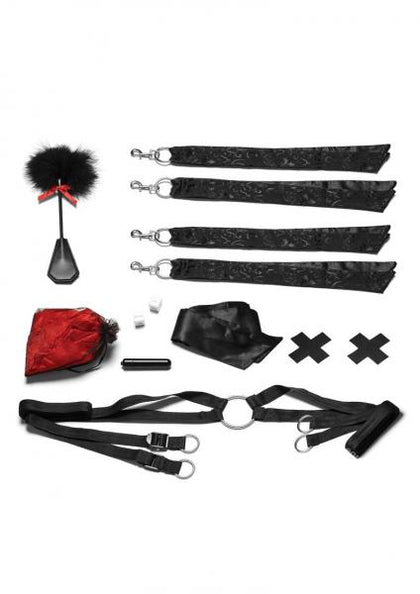Night Of Romance Satin Cuffs, Rose Petals 6 Piece Bed Spreader Set