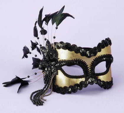 Half Mask Feathers, Beads Black-Gold