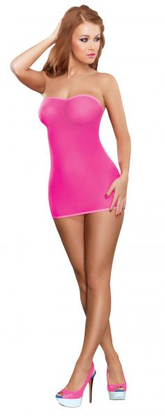 Club Seamless Neon Tube Dress & G-String Pink O-S