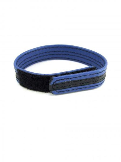 M2M Leather Velcro Cock Ring Black Blue