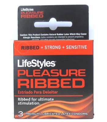 Lifestyles Condom Ribbed Pleasure Lubricated 3 Pack