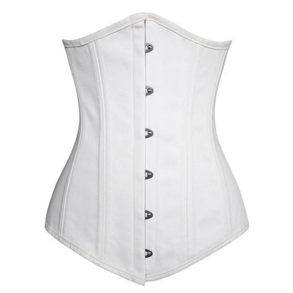 White Long Cotton Waist Training Underbust Corset