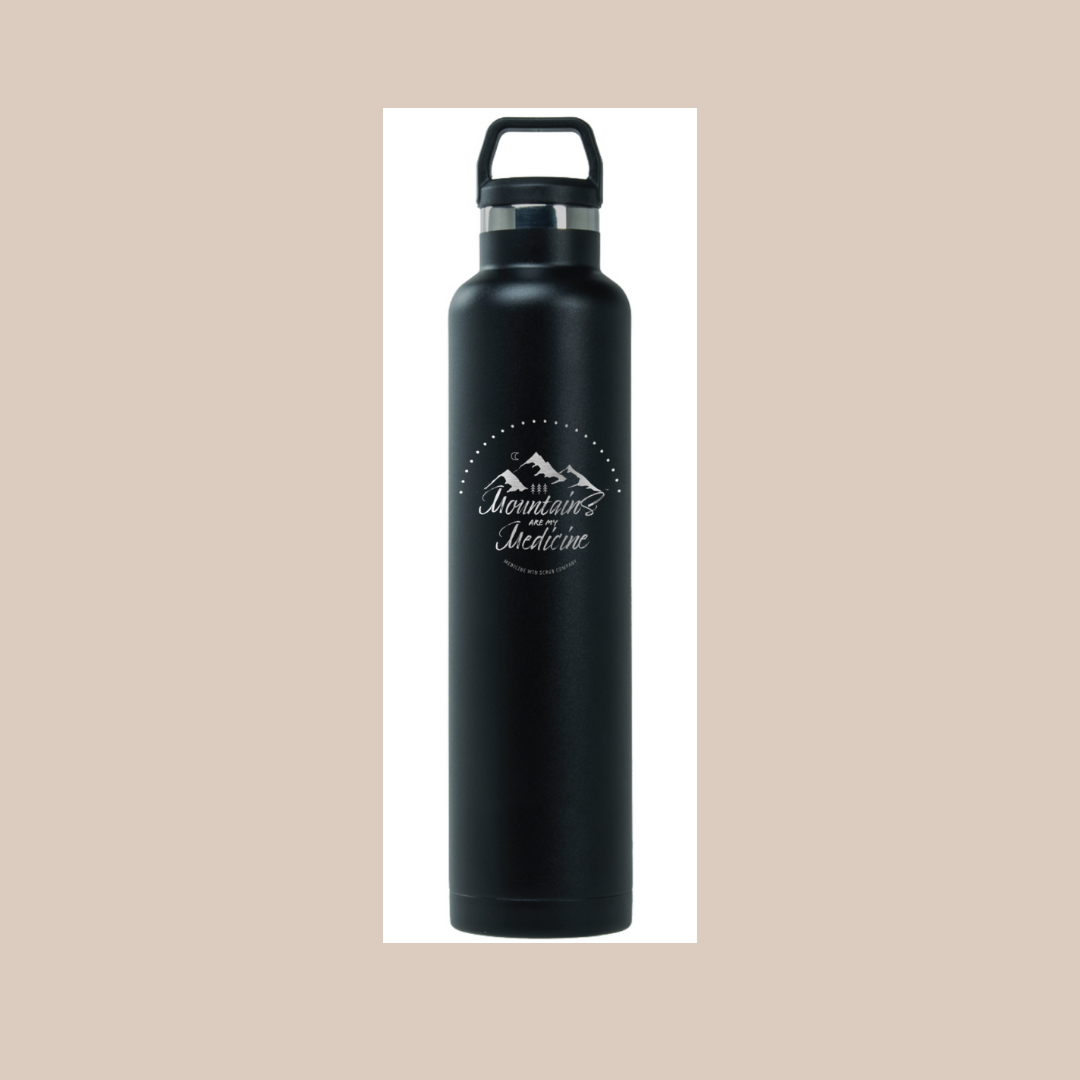 Mountains Are My Medicine water bottle from Medicine Mountain Scrub Company