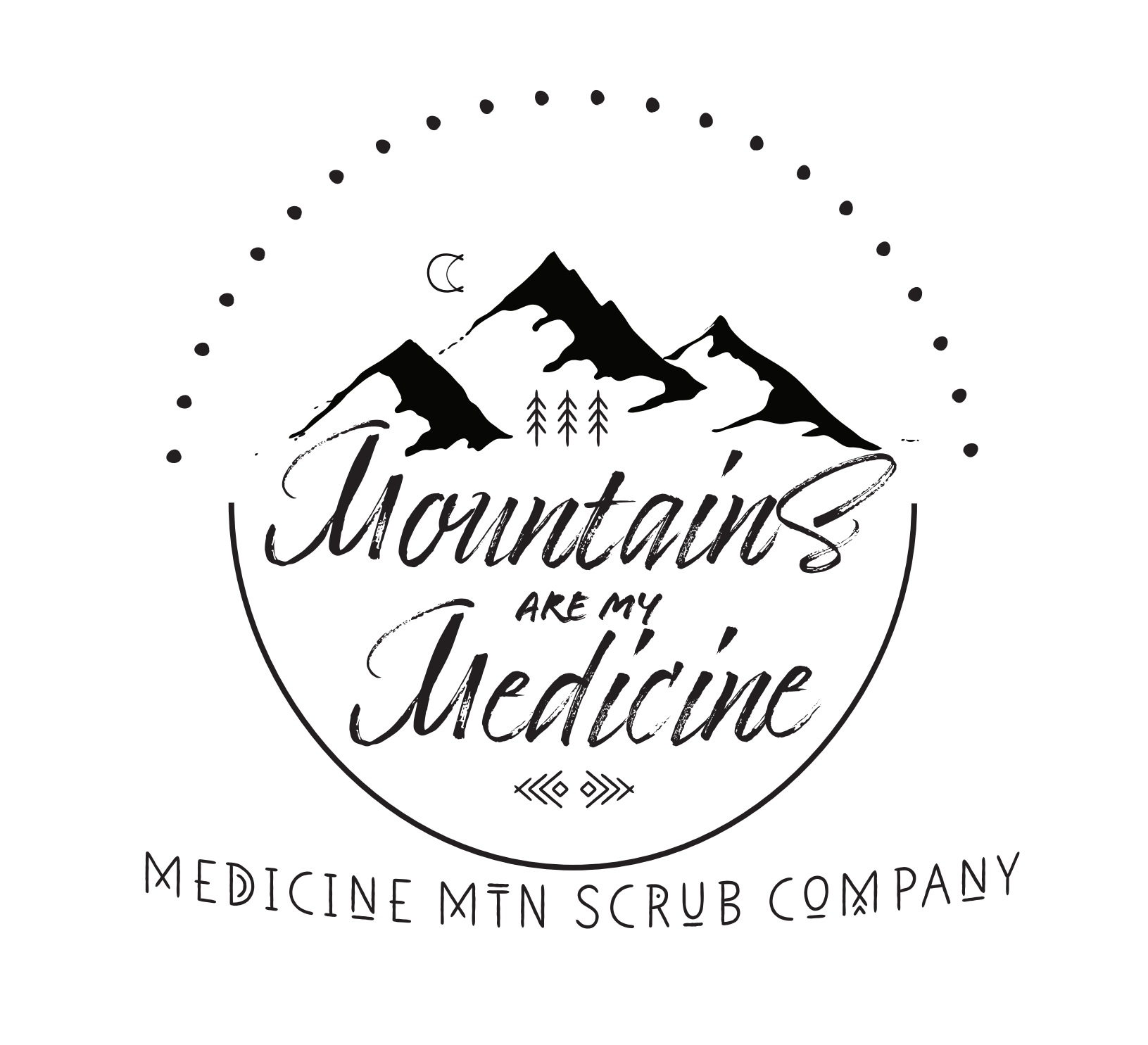 Mountains Are My Medicine logo from Medicine Mountain Scrub Company