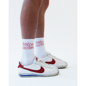 Stacked Logo Knit Socks - White