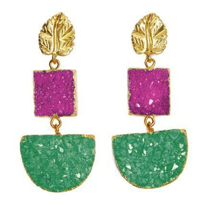 Amazonia pink and green druzy earrings