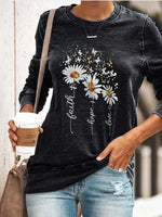 Load image into Gallery viewer, Women's Faith Daisy Printed Short-Sleeved Comfortable Sweatshirt