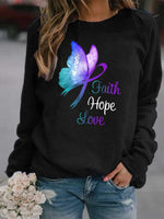 Load image into Gallery viewer, Faith Hope Love Butterfly Print Sweatshirt