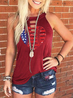 Load image into Gallery viewer, Heart American Flag Print Tank
