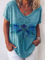 Load image into Gallery viewer, Ladies Dragonfly Print Casual T-Shirt