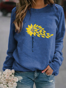Believe With Sunflower Long Sleeve Pullover