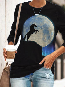 Ladies Moon Horse Silhouette Print Sweatshirt