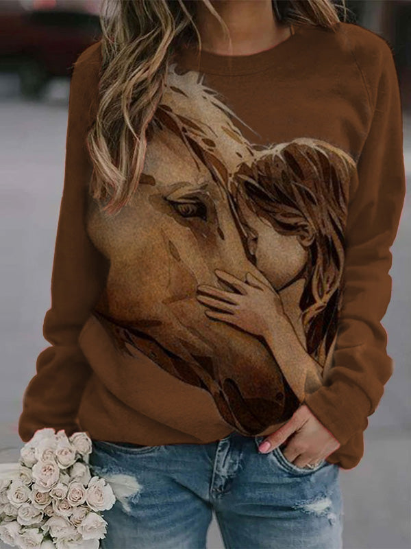 Women's Little Girls Kiss Horse Print Sweatshirt