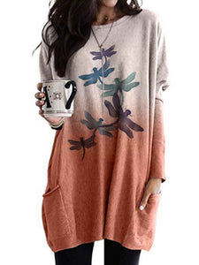 Women's Dragonfly Print Casual Long Sleeve T-Shirt
