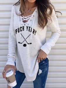 Puck Yeah Hockey Lace Up Long Sleeve T-Shirt
