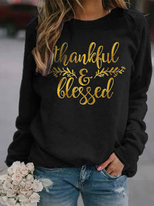 Women's Thanksgiving Thankful And Blessed Printed Long Sleeve Sweatshirt