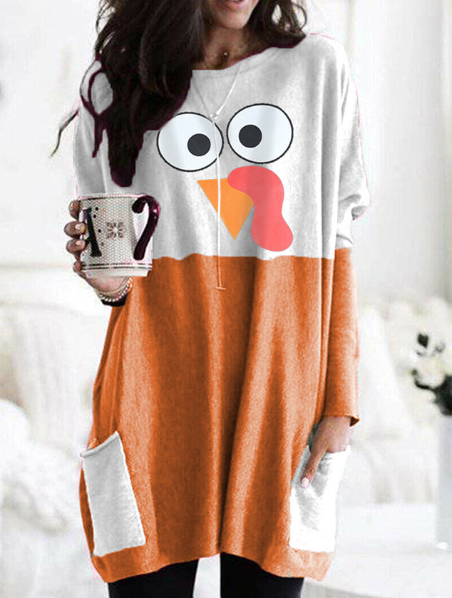 Woman's Thanksgiving Day Turkey Print Cozy T-shirt