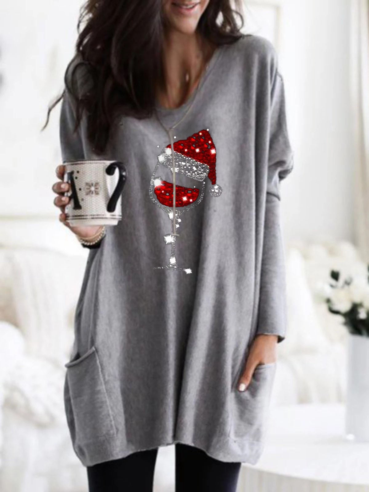Cozy Christmas Red Wine Glass Print Pocket Top