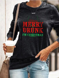 Glass Wine Merry Drunk I'm Christmas Pullover