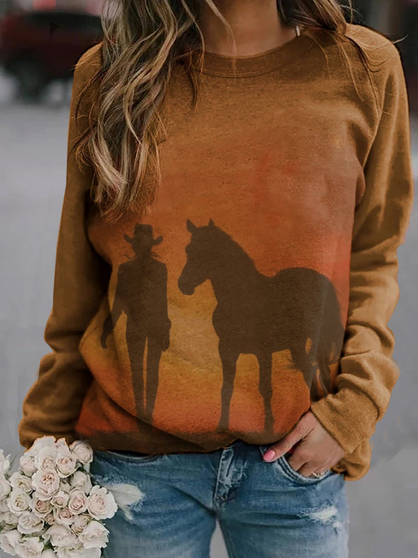 Woman And Horse Print Casual Sweatshirt