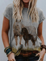 Load image into Gallery viewer, Women's Horse Print Short Sleeve T-Shirt