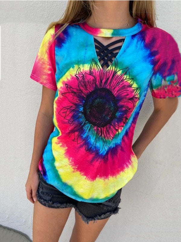 Sunflower-Tie-Dye-Wit-The-Black-Strappy-Detail T-Shirt