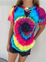 Load image into Gallery viewer, Sunflower-Tie-Dye-Wit-The-Black-Strappy-Detail T-Shirt