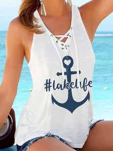 Anchor #Lakelife Printed Camisole Beach Vest