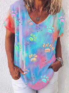 Paw Tie-dye Short Sleeve Top