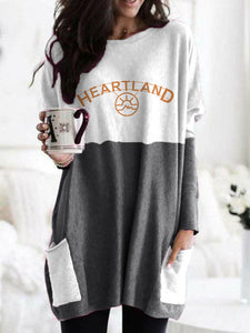Heartland TV Series Long-Sleeved Round Neck Collar Printed Color Block Top