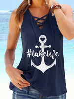 Load image into Gallery viewer, Anchor #Lakelife Printed Camisole Beach Vest