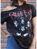 Load image into Gallery viewer, Queen Band Print Tie-Dye Strapless T-Shirt