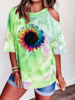 Load image into Gallery viewer, Sunflower Print Tie Dye Off-Shoulder Top