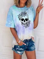 Load image into Gallery viewer, Svg Flowered Skull  Tie Dye Print Tshirt