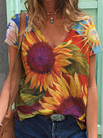 Load image into Gallery viewer, Women's Sunflower Print V-Neck Short Sleeve T-Shirt