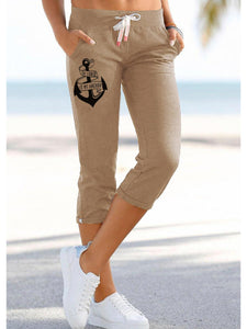 The Lord Is My Anchor Printed Casual Cropped Trousers