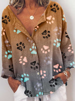 Load image into Gallery viewer, Woman's Colorful Dog Paw Print Blouses