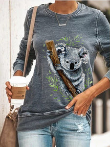 Koala Watercolour Print Long Sleeve Pullover